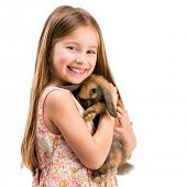 stock photo of rabbit year  - cute smiling girl in a summer dress with a baby rabbit close - JPG