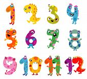 stock photo of wraith  - Cartoon colorful numbers in the form of ridiculous monsters - JPG