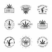 picture of bong  - Set of medical marijuana logos - JPG