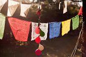 pic of prayer  - Colourful Prayer Flags hanging from a suburban verandah - JPG