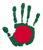 foto of bangladesh  - Handprints with Bangladesh flag - JPG