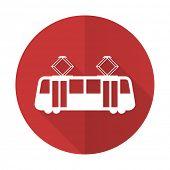 foto of tram  - tram red flat icon public transport sign  - JPG