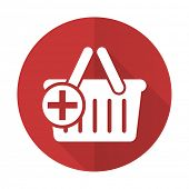 foto of cart  - cart red flat icon shopping cart symbol