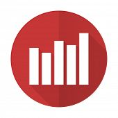 picture of graph  - graph red flat icon bar graph sign