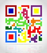 foto of qr-code  - multicolored qr code vector illustration isolated on white background - JPG