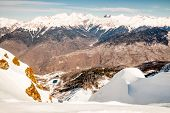 stock photo of snow capped mountains  - snow - JPG
