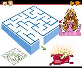 stock photo of cinderella  - Cartoon Illustration of Education Maze or Labyrinth Game for Preschool Children with Princess or Cinderella with Shoe - JPG