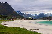stock photo of lofoten  - Summer view to Ramberg Beach in the Lofoten Islands - JPG