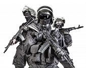 picture of special forces  - Russian special forces operators in black uniform and bulletproof helmets - JPG