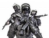 picture of anti-terrorism  - Russian special forces operators in black uniform and bulletproof helmets - JPG