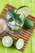 foto of mojito  - Mojito Lime Alcoholic Drink Cocktail in Glass Overhead  - JPG