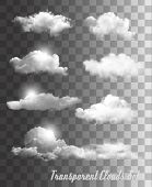 stock photo of cumulus-clouds  - Set of transparent clouds - JPG