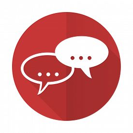 foto of blog icon  - forum red flat icon chat symbol bubble sign - JPG