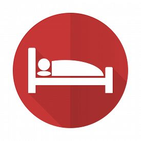 stock photo of flat-bed  - hotel red flat icon bed sign  - JPG