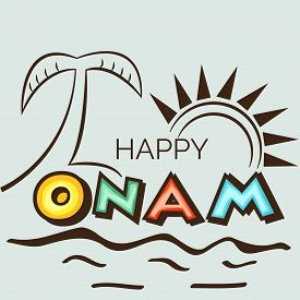 picture of onam festival  - illustration of a stylish text for Happy Onam - JPG