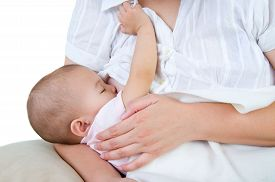 image of mother baby nature  - Asian mother breastfeeding her cute baby girl - JPG