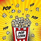 Pop Art Fast Food In The Cinema. Colorful Background With Popcorn Popping Out Of The Box. Vector Ill poster