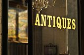 Antique Store Window Sign Wilth Gold Letters
