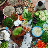 Traditional asian market. Malaysia Pasar siti khadijah