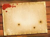 Old Paper Texture With Red Blood On Wood Background.retro