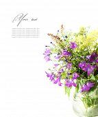 Ramo de flores silvestres en un fondo blanco