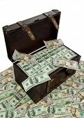 stock photo of treasure chest  - A large chest with dollar bills - JPG