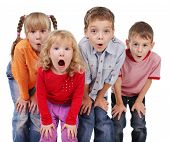 Children surprised with open mouth