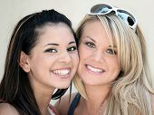 picture of teenage girl  - Two smiling girl friends  - JPG