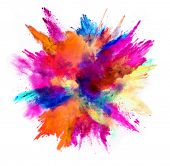 Explosion of colored powder, isolated on white background. Power and art concept, abstract blast of  poster