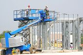 Workers working on the commercial construction site