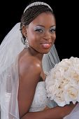Beautiful African American Bride Portrait Sitting on Dark Background