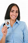 Happy Hispanic Female Businesswoman Holding Employee ID on Isolated Background