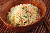 Shrimp Stir Fried Rice in a Bamboo Bowl