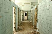 abandoned hospital corridor