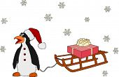 image of santa sleigh  - penguin like Santa with  present - JPG