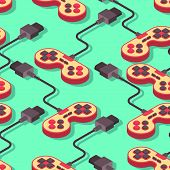 Joystick Retro Seamless Pattern. Gampad Game Console 8 Bit Texture. Retro Video Game Control Backgro poster