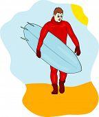 vector - surfer on seaside background