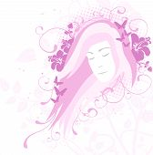 picture of sleeping beauty  - Young woman portrait illustration beauty and feminine concept - JPG
