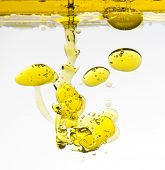 bubbles of olive-oil in water isolated