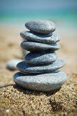 Stone stacks on a pebble beach