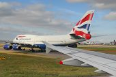 british airways airplane ready for take-off at heathrow airport, london UK