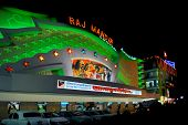 green lit movie theater raj mandir in jaipur, india, by night