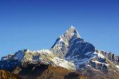 fishtail mountain in annapurna-range of the himalaya in nepal