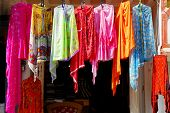 shop with colorful indian cloths