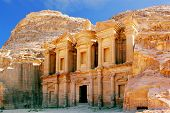 stock photo of petra jordan  - The monastery in world wonder Petra - JPG