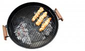 picture of barbecue grill  - Chicken brochettes grilled on a bbq - JPG