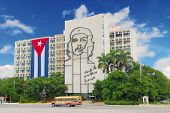 Ministry of the Interior building, featuring iron mural of Che Guevara's face at the Revolution Squa