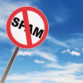 stock photo of no spamming  - Reflecting road sign concept NO SPAM on blue sky background - JPG