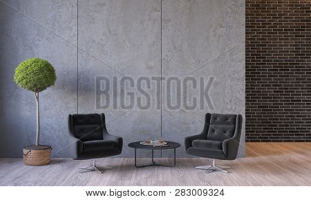 poster of Modern Loft Interior With Furniture Lounge Chairs, Plant, Table, Architecture Concrete Cement Wall P