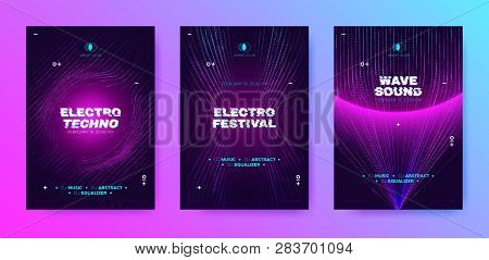 poster of Abstract Music Poster With Distorted Wave Lines. Electronic Sound Event, Dj Party Flyer. Banner In P